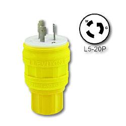 Leviton 20 Amp Black Wetguard Locking Plug with Cover - Industrial Grade 125 Volt (Grounding)