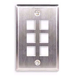 ICC Flush Mount Single Gang Stainless Steel Faceplate-6 Port