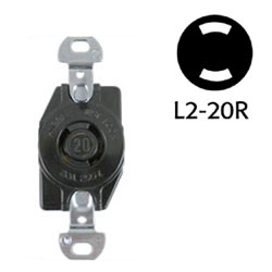 Hubbell NEMA L2-20R Non-Grounding Black Phenolic Face Twist Lock Receptacle