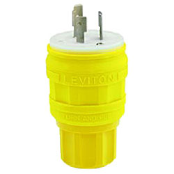 Leviton Wetguard 15A  125V 2P 3W Locking Plug in High-Visibility Yellow