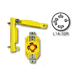 Leviton 30 Amp Flush Mtg Locking Receptacle Wetguard with Cover (Grounding)