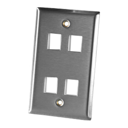 Legrand - Ortronics 4 Port Single Gang Stainless Steel Faceplate