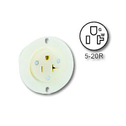 Leviton 20Amp 125V 2-Pole, 3-Wire NEMA 5-20 Flanged Outlet Connector