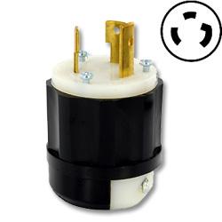 Leviton 30 AMP, 125V, Lighted Black Nylon Locking Plug