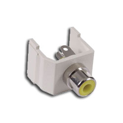 Hubbell Snap-Fit RCA Jack with Solder Coupler Termination - Office White Housing