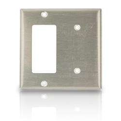 Leviton 2-Gang 1-Blank 1-Decora Device Combination Wallplate Stainless Steel