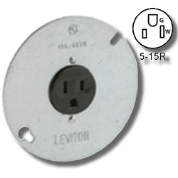 Leviton Side Wired 15Amp 125V Zinc Plated Steel Single Receptacle on 4