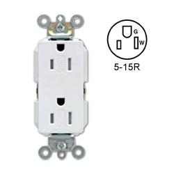 Leviton Decora Plus Duplex Receptacle 15 Amp, 125 Volt, NEMA 5-15R