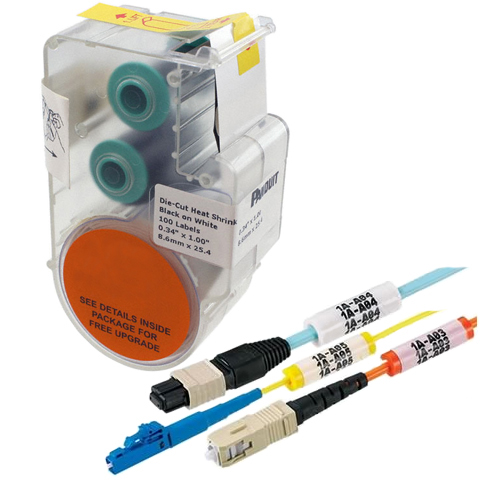 Panduit® Panther, P1 Continuous Heat Shrink Label Cassettes for Hand-Held Thermal Transfer Printers, 18-12 AWG, White
