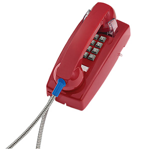 ITT Cortelco Basic Wall Phone with Armored Cord and Plastic Cradle