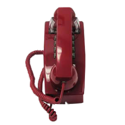 ITT Cortelco 2554 Series Single-Line Wall Phone with Single Gong Ringer, Red