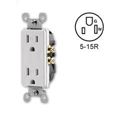 Leviton Decora Duplex Receptacle 15 Amp, 125 Volt, NEMA 5-15R