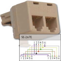 Suttle 6P6C Modular T Adapter