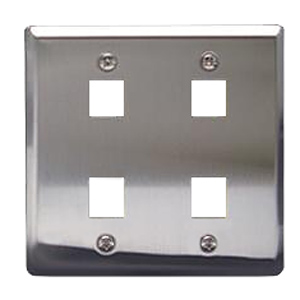 ICC Flush Mount Double Gang Stainless Steel Faceplate-4 Port