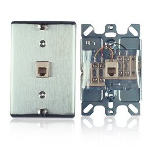 Allen Tel Stainless Steel Wall Phone Jack - Screw Terminals