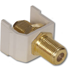 Hubbell Snap Fit Connector, F-Type Coupler Gold Bulkhead F/F