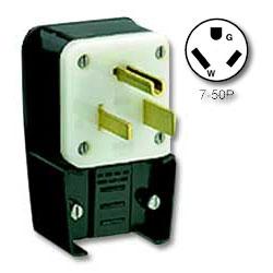 Leviton 50Amp 277V Flush Mount Receptacle Matching Angle Plug
