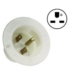 Leviton 15 Amp 250V 2-Pole, 3-Wire Flanged Inlet Receptacle