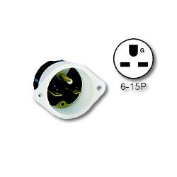 Leviton 15Amp 250V 2-Pole 3-Wire NEMA 6-15P Flanged Inlet Receptacle