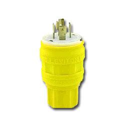 Leviton Wetguard Locking Plug with High-Visibility Yellow