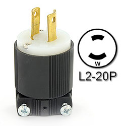 Leviton 20 Amp Locking Plug - Industrial Grade 250 Volt (Grounding)