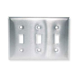 Hubbell Wallplate, Toggle Style, 3-Gang, 3-Toggle, Stainless Steel, Curved Corners
