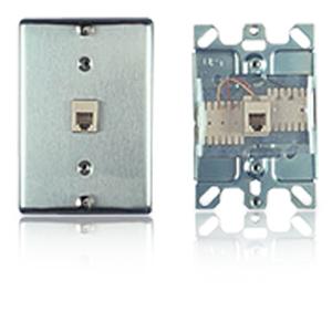 Allen Tel Stainless Steel Wall Phone Jack - 110 Termination
