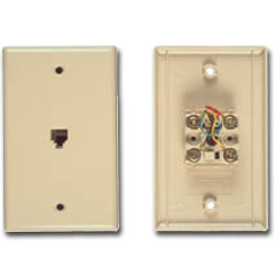 Allen Tel Flush Smooth Phone Wall Jack - 6 Position